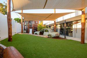 grass view inside the niso child care centre at balcatta