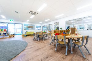 kids seating and playing area of nido child care centre at belmont